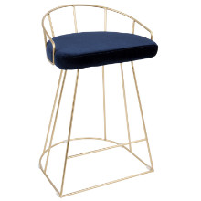 Canary Contemporary Counter Stool in Gold and Blue Velvet  - Set of 2