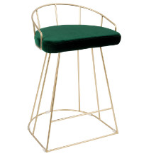 Canary Contemporary Counter Stool in Gold and Green Velvet  - Set of 2