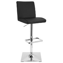 Captain Height Adjustable Contemporary Barstool with Swivel in Black