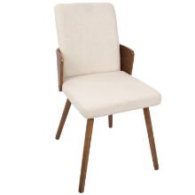 Carmella Mid-Century Modern Dining Chair in Walnut and Cream Fabric  - Set of 2