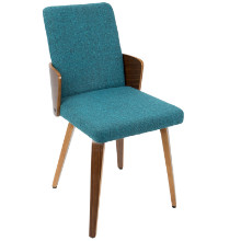 Carmella Mid-Century Modern Dining Chair in Walnut and Teal Fabric  - Set of 2