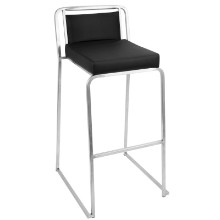 Cascade Stackable Contemporary Barstool - Set Of 2 in Black