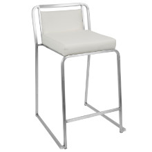 Cascade Stackable Contemporary Counter Stool - Set Of 2 in White