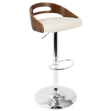 Cassis Mid-Century Modern Height Adjustable Barstool In Walnut And Cream With Swivel