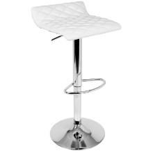 Cavale Contemporary Adjustable Barstool in White
