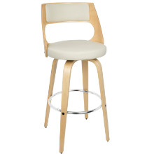 Cecina Mid-century Modern Barstool with Swivel in Natural and Cream