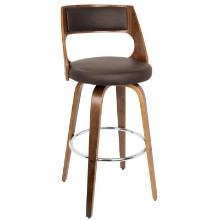 Cecina Mid-century Modern Barstool with Swivel in Walnut and Brown