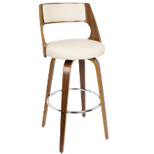 Cecina Mid-century Modern Barstool with Swivel in Walnut and Cream