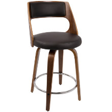 Lumisource CS-CCN-WL-BN Cecina Fixed Height Mid-Century Modern Counter Stool In Walnut And Brown