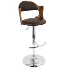 Cello Height Adjustable Mid-century Modern Barstool with Swivel in Walnut and Brown
