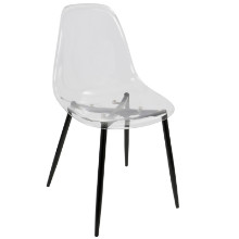 Clara Mid-Century Modern Dining Chair in Black and Clear -Set of 2