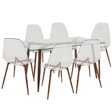 Clara Mid-Century Modern Dining Set in Walnut and Clear