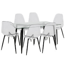 Clara Mid-Century Modern Dining Set in Black and Clear