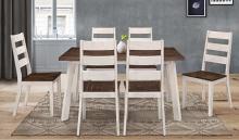 Corona-7PC 7 pc Latitude run cliett corona two tone oak / antique white finish wood dining table set