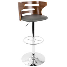 Cosi Mid-Century Modern Adjustable Barstool in Walnut and Grey with Swivel