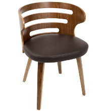 Cosi Mid-Century Modern Chair in Walnut and Brown PU Leather