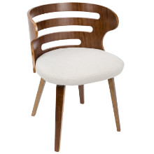 Cosi Mid-Century Modern Chair in Walnut and Cream Fabric