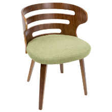 Cosi Mid-Century Modern Chair in Walnut and Green Fabric