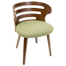 Cosi Mid-Century Modern Chair in Walnut and Green Fabric