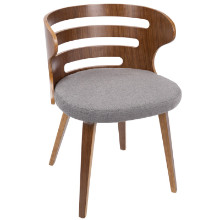 Cosi Mid-Century Modern Chair in Walnut and Grey Fabric