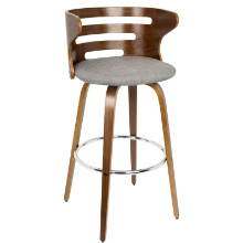 Cosini Mid-century Modern Barstool with Swivel in Walnut and Grey