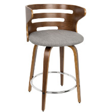 Cosini Mid-century Modern Counter Stool with Swivel in Walnut and Grey