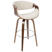 Lumisource BS-CRVNI-WL-CR Curvini Mid-Century Modern Barstool in Walnut Wood and Cream Fabric