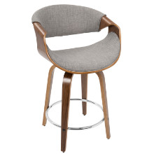 Curvini Mid-Century Modern Counter Stool in Walnut Wood and Light Grey Fabric
