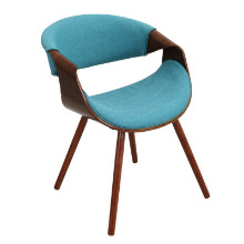 Curvo Mid-Century Modern Walnut Chair in Teal Fabric and Walnut Wood