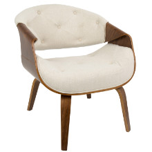 Curvo Mid-Century Modern Accent Chair in Walnut and Cream Fabric