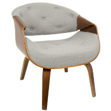 Curvo Mid-Century Modern Accent Chair in Walnut and Grey Fabric