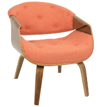 Curvo Mid-Century Modern Accent Chair in Walnut and Orange Fabric