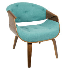 Curvo Mid-Century Modern Accent Chair in Walnut and Teal Fabric