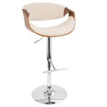 Curvo Height Adjustable Mid-century Modern Barstool with Swivel in Walnut and Cream