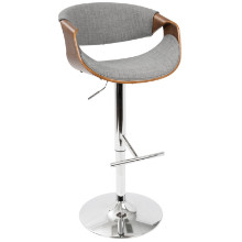 Curvo Mid-Century Modern Adjustable Barstool in Walnut and Light Grey with Swivel