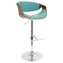 Curvo Height Adjustable Mid-century Modern Barstool with Swivel in Walnut and Teal