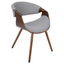 Curvo Mid-Century Modern Walnut Chair in Grey Fabric and Walnut Wood