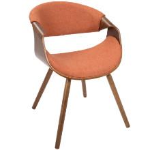 Curvo Mid-Century Modern Chair in Walnut with Orange Fabric Seat