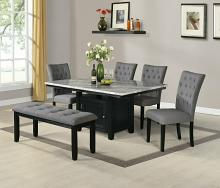 D106-6PC 6 pc Darby home co lona espresso finish wood faux marble top storage pedestal dining table set with bench