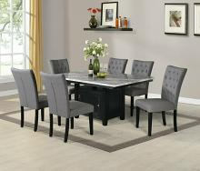 D106-7PC 7 pc Darby home co lona espresso finish wood faux marble top storage pedestal dining table set