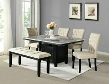 D107-6PC 6 pc Darby home co lona espresso finish wood faux marble top storage pedestal dining table set with bench