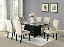D107-7PC 7 pc Darby home co lona espresso finish wood faux marble top storage pedestal dining table set