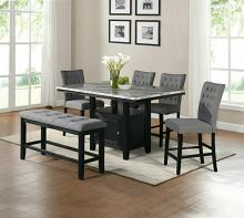 D108-6PC 6 pc Darby home co lona espresso finish wood faux marble top counter height storage pedestal dining table set