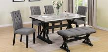 D116-6PC 6 pc Darby home co lona espresso finish wood faux marble top dining table set with bench