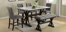 D118-6PC 6 pc Charlton home celyn espresso finish wood faux marble top counter height dining table set with bench
