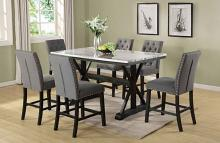 D118-7PC 7 pc Charlton home celyn espresso finish wood faux marble top counter height dining table set