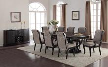 Mc Ferran MF-D1600-7PC 7 pc Canora grey schreffler dark finish wood double pedestal dining table set