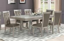Mc Ferran D168-7PC 7 pc Everly quinn marcia platinum champagne finish wood dining table set