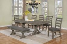 D21-7PC 7 pc One allium way trixie antique gray finish wood double pedestal dining table set
