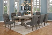 D21-8D26SC 9 pc One allium way trixie antique gray finish wood double pedestal dining table set
